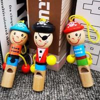 KIDNOAM 木制可爱海盗口哨 2个装