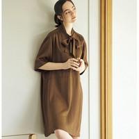 23日0点:UNIQLO 优衣库 U系列 430968 女士蝴蝶结领连衣裙