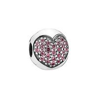 双11预售:PANDORA 潘多拉 791053CZS 粉色心形密镶925银固定夹