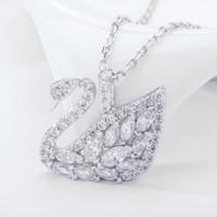 双11预售、历史低价:SWAROVSKI 施华洛世奇 5296469 榄尖形羽翼天鹅项链