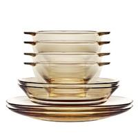卖爆了超市君: CORNINGWARE 康宁器皿 茶色玻璃碗盘餐具(双耳碗*4 深盘*2 浅盘*2)