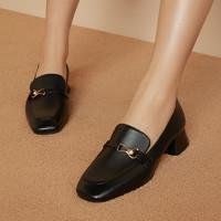 预售0点截止、双11预售:百思图 RO824CQ0 真皮方跟乐福鞋