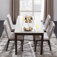 1日0点:CHEERS 芝华仕 PT002 钢化玻璃餐桌椅组合 一桌四椅