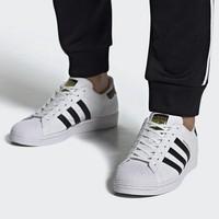 历史低价、手慢无: adidas 阿迪达斯 三叶草 SUPERSTAR 男女款经典运动鞋(金标)