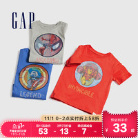 Gap男幼童纯棉短袖T恤夏季548758 2020新款漫威联名童装儿童衣服