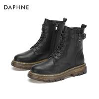 双11预售:DAPHNE 1020605435 女士平跟皮扣系带八孔马丁靴