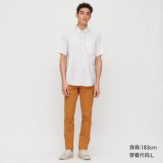 优衣库 男装 优质长绒棉印花衬衫(短袖) 427314 UNIQLO