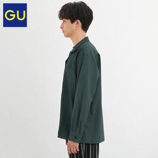 GU极优男装开领衬衫2020秋季新款时尚休闲风日系宽松上衣328404