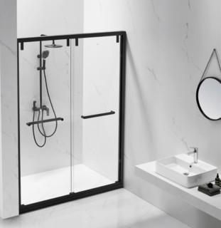 ssww 浪鲸 EB39-Y22 一字型双活淋浴房 哑黑色 2.6平方