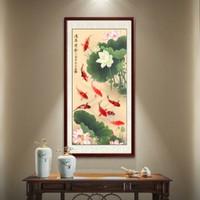 双11预售:玄关装饰画新中式入户走廊挂画竖版字画荷花九鱼图手绘国画工笔画