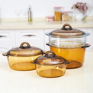 法国乐美雅进口玻璃锅家用耐高温燃气炖煮汤锅煎锅蒸炒锅透明锅具