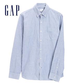预售Gap男装纯棉休闲立领长袖衬衫秋冬500018 2020新款纯色衬衣男