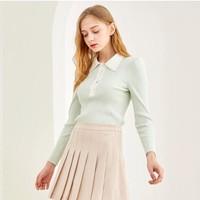 双11预售:E·LAND 衣恋 EEKWA8803I 女士POLO领修身薄款针织衫