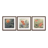 艺术品:荷花系列一 国画三联 客厅走廊画廊茶屋背景墙装饰画挂画 茶褐色 67×67cm/幅