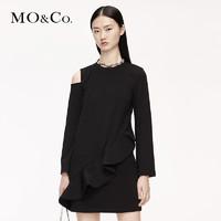 1日0点:MO&Co. 摩安珂 MBO3DRSX16 纯色单边露肩连衣裙