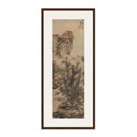 蓝瑛《秋山渔隐图》山水风景国画水墨画 背景墙装饰画挂画 茶褐色 74×167cm