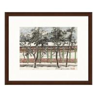 艺术品:风景国画水墨画《长廊积雪》关山月背景墙装饰画挂画 茶褐色 54×65cm