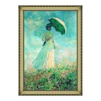 莫奈人物油画《阳伞下右转身的女人》背景墙装饰画挂画 宫廷金 79×113cm