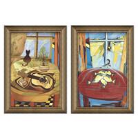 波普艺术油画 背景墙装饰画 系列1:《吉他和猫》+《猫眼中的鱼》 装裱尺寸:70*50cm