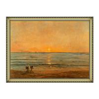 风景油画《落日与渔夫》杜比尼 背景墙装饰画挂画 宫廷金 114×85cm