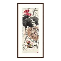 国画水墨画齐白石名画《荷塘鸳鸯图》装饰画挂画卧室玄关客厅沙发背景墙