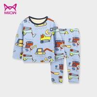 MIIOW 猫人 儿童保暖加绒睡衣内衣套装 *2件