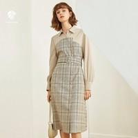 范思蓝恩 Z95010 女士假两件格子连衣裙