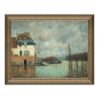 1日0点:风景油画《马利港的洪水》西斯莱 背景墙装饰画挂画 典雅栗(偏金色) 56×71cm