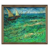 1日0点:梵高油画《帆船海景》卧室玄关客厅走廊办公室发背景墙装饰画挂画 典雅栗(偏金色) 67×58cm