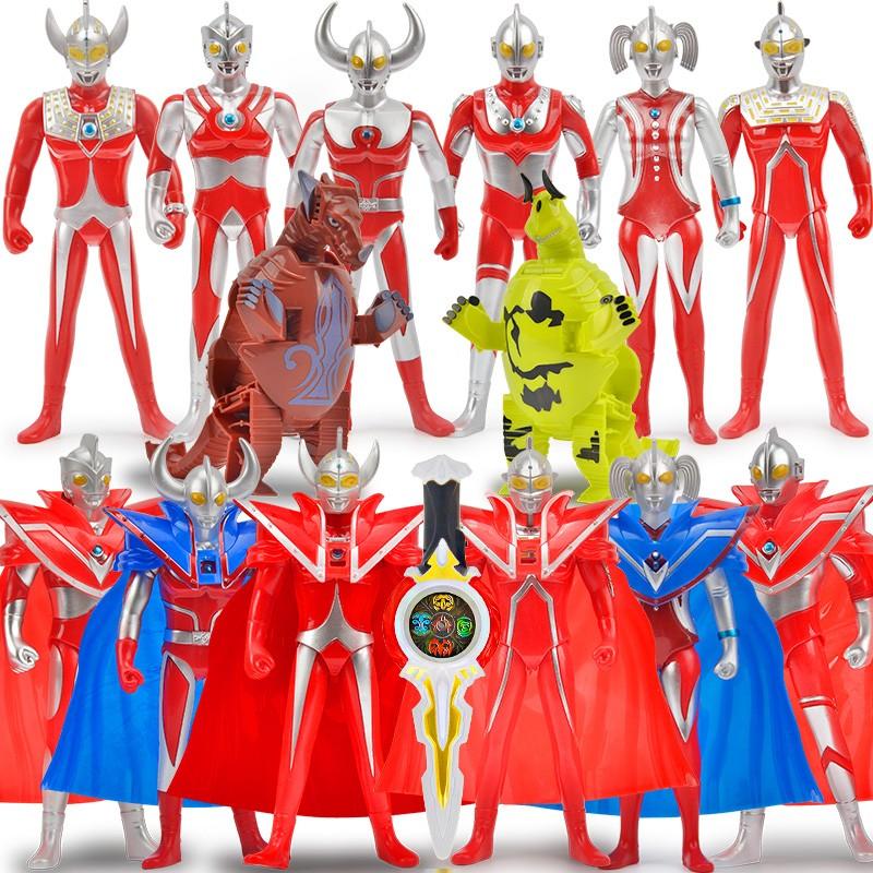 ULTRAMAN 咸蛋超人 赛文初代泰罗宇宙超人套装(6披风超人+2怪兽+变身器+36张卡 )