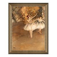 1日0点:人物油画《两个芭蕾舞女》沙发背景墙装饰画挂画 典雅栗(偏金色) 54×69cm