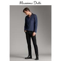Massimo Dutti  00754204401 男士棉质长袖纹理POLO衫