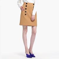 ochirly 欧时力 1GY1071050530 女款纯色双排扣短裙