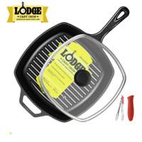 Lodge 洛极 L8SGP3 方形铸铁条纹煎锅 26CM