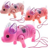 移动专享:休杰 发光音乐牵绳猪 颜色随机 送牵绳