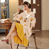 xiangerma 香尔玛 女士纯棉长袖睡裙