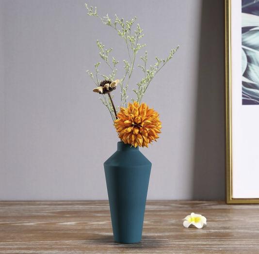 Hoatai Ceramic 北欧简约蓝色花瓶(含干花)