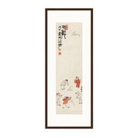 古典国画人物水墨画《五童纸鸢图》齐白石背景墙装饰画挂画