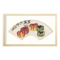 《事事平安扇》 齐白石 水墨画国画框画现代装饰画 62*37cm