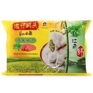 湾仔码头 鲜水饺 荠菜猪肉口味   720g *8件