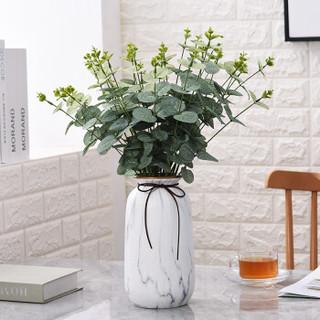 Hoatai Ceramic 北欧陶瓷花瓶套装 金边石纹B款大号+尤伽绿