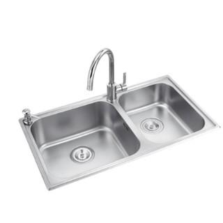 MOEN 摩恩 304不锈钢水槽 双槽+精铜龙头 80*45cm