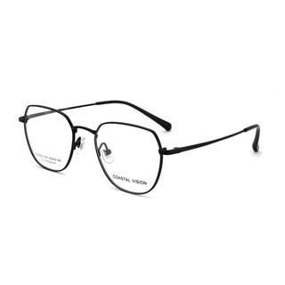 COASTAL VISION 镜宴 CVO 4012 黑色钛架圆框镜框+依视路 钻晶A4 1.60镜片赠送依视路 A3 1.60