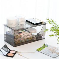 禧天龙家用桌面大容量塑料化妆品收纳盒口红护肤品梳妆台置物架 7298 一个装 透明红色 *9件