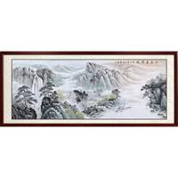 手绘国画山水画 背景墙挂画 办公室字画山居云景图