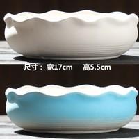天逸恒佑 多肉陶瓷花盆 17*5.5cm(JL拼盘组合2个-白蓝)