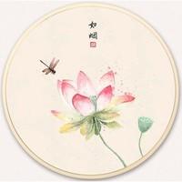 手绘国画 圆形荷花 现代客厅沙发背景墙壁画装饰画