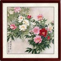 名家手绘国画 挂画 牡丹花 客厅装饰画 工笔画 装裱65*65