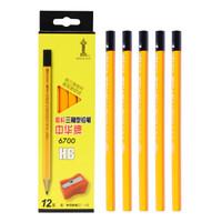 京东PLUS会员、凑单品:中华 6700 粗三角杆铅笔 HB 12支/盒