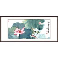 艺术品:国画荷花 张大千 嘉藕图 雅致胡桃 成品尺寸:宽140*高70cm